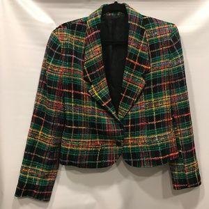 DONCASTER Plaid Silk Tweed Crop Blazer